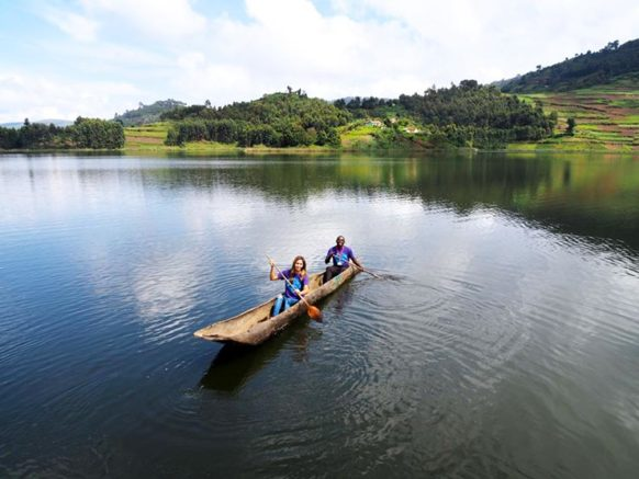 Canoing on Lake Bunyonyi