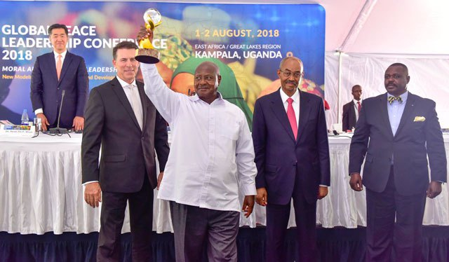 President museveni after receiving the global peace keeping award yesterday