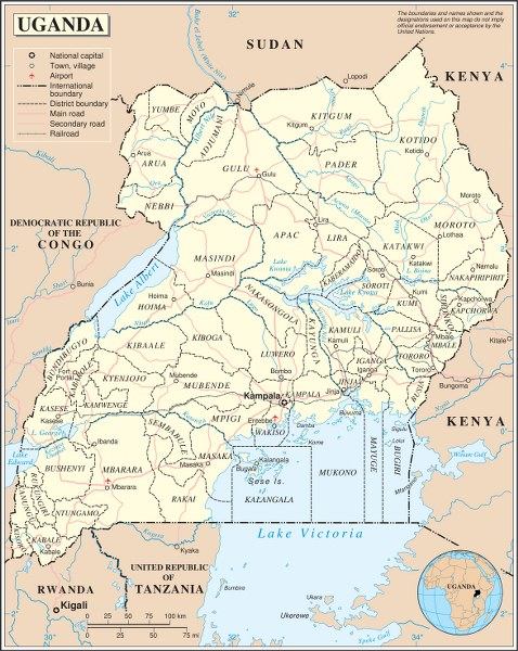 A United Nations map of Uganda