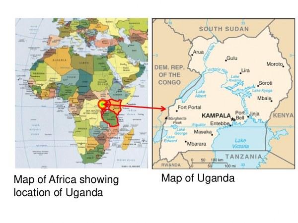 Map of africa showing loation of uganda tour