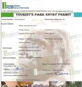 Rwanda gorilla trekking permit