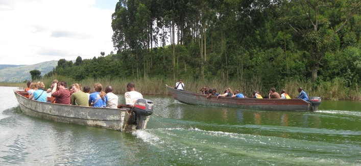 boat cruise on Bulera and Ruhondo lakes