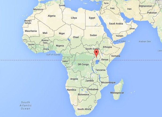 location of uganda on the African map